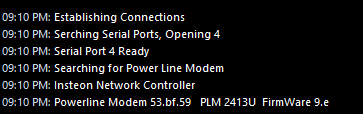open serial port and find PowerLinc Modem